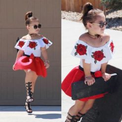 Baby Girls Sleeveless Off Shoulder Embroidery Tops+Skirts Outfits