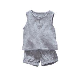 Babies Summer Sleeveless Vest Tops + Shorts Cotton Clothing 2Pcs Set