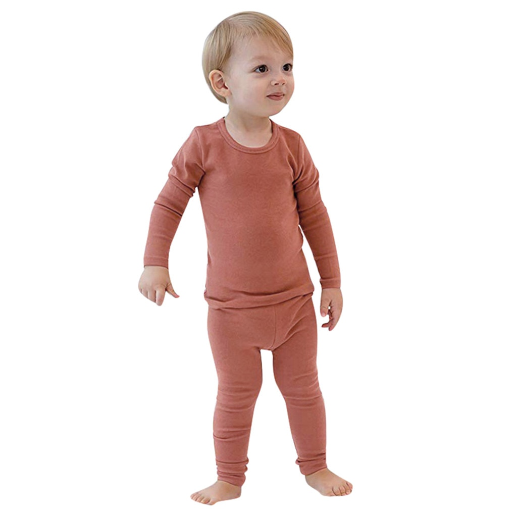 Toddler Infant Baby Boys Long Sleeve Solid Tops+Pants Pajamas Sleepwear Outfits