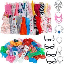 Cute Dress, Glasses, Necklaces, Shoes Doll Accessories - 30 Item/Set
