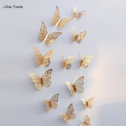 New 3D Hollow Wall Stickers Butterfly for Fridge, Home Decoration - 12 Pcs