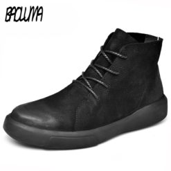 Real Leather Men Autumn Winter Rubber Ankle Boots With Warm Fur