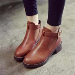 Women Flat Round Toe Ankle Casual Boots