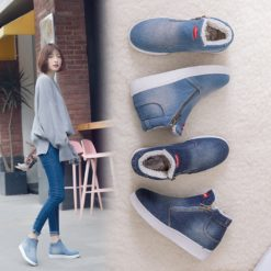 Women Warm Fleeces Classic Round Toe Flat Casual Denim Snow Boots