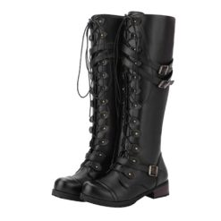Women Steampunk Vintage Style Buckle Military Combat Boots