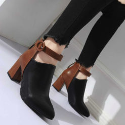 Women Zip Pointed Toe High Heel Botton Ankle Casual Boots