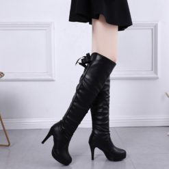 Women's Knight Round Toe Lace-Up Leather Long Boots