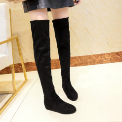 Women Winter Suede Slip-On Round Toe High Boots