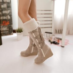 Fleeces Knee High Women Snow Boots
