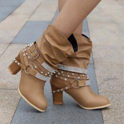 Youyedian Slip On Winter Cross Tie Womens Ankle Boots
