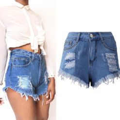 Chamsgend Sexy Tassel Hole Women's Shorts Jeans